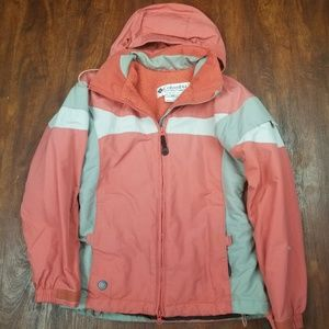 Columbia jacket size xs salmon, gray and white